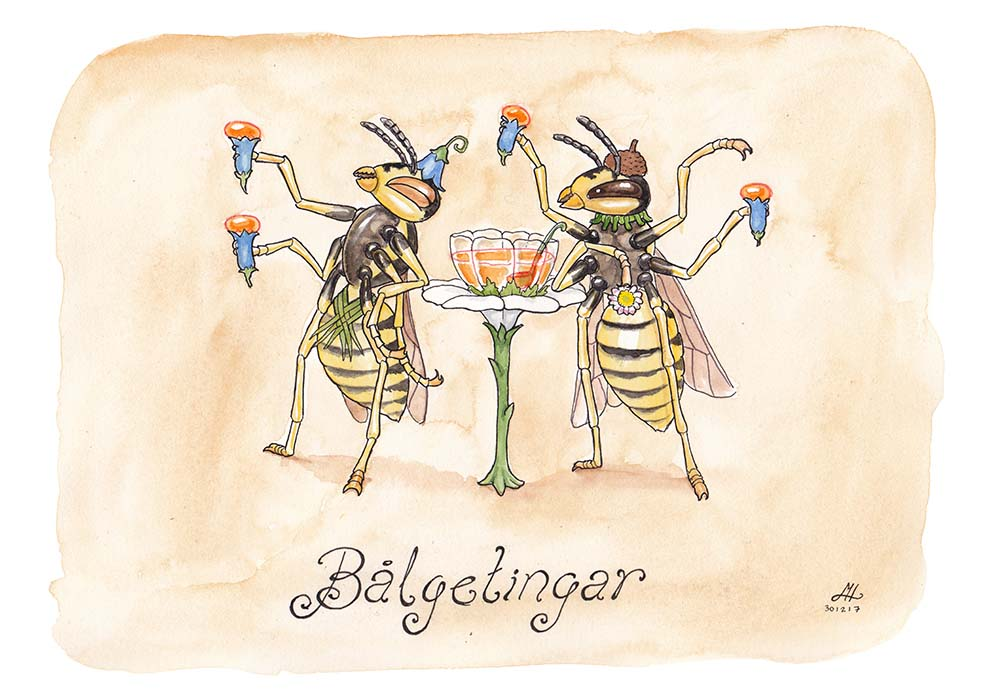 bålgetingar ordvits illustration