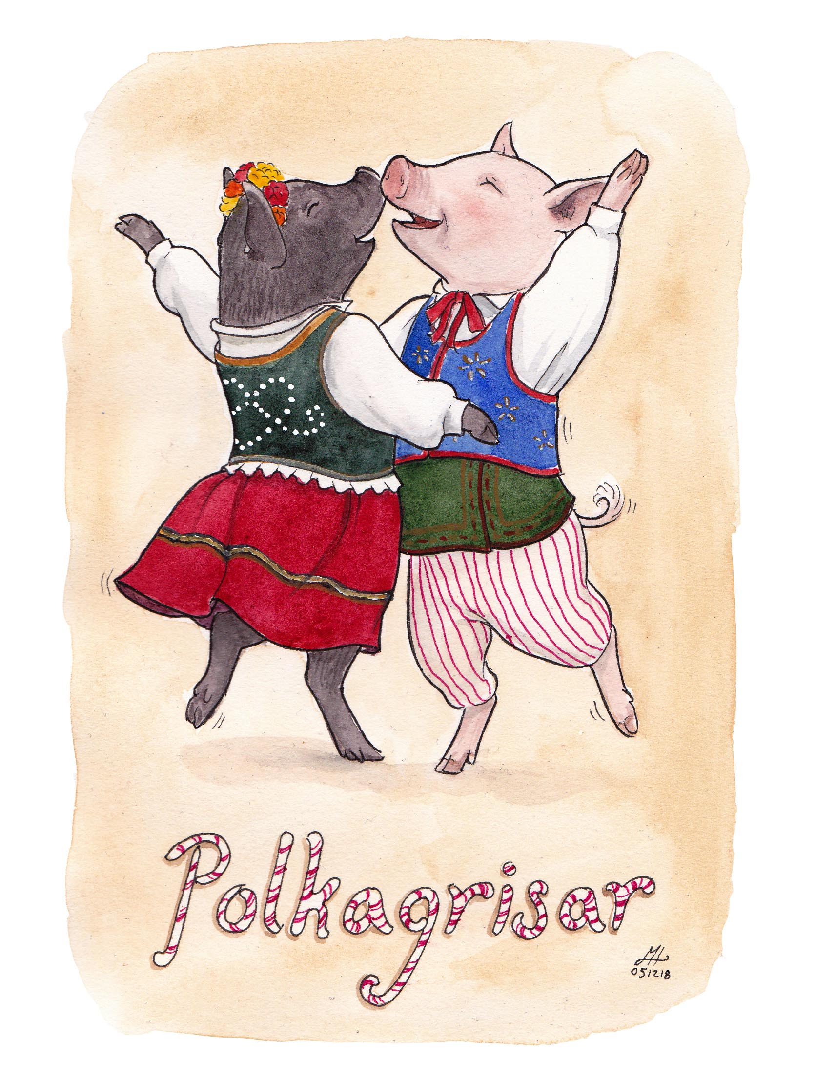 polkagrisar ordvits illustration