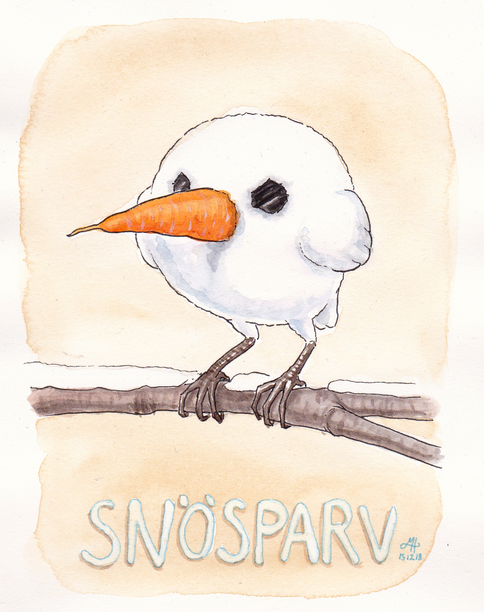 snösparv ordvits illustration