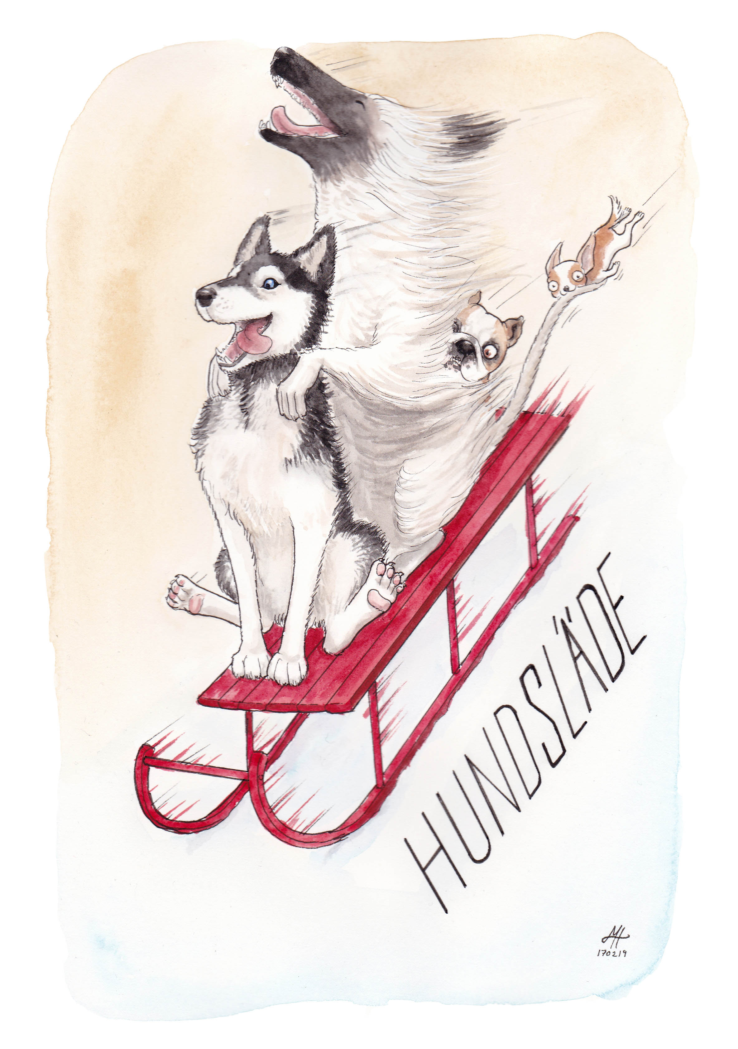 hundsläde illustration ordvits