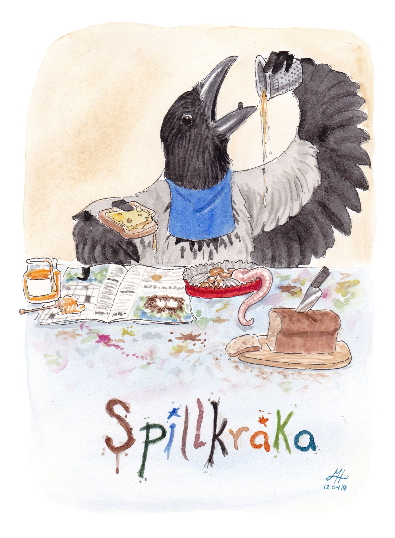 spillkråka illustration ordvits