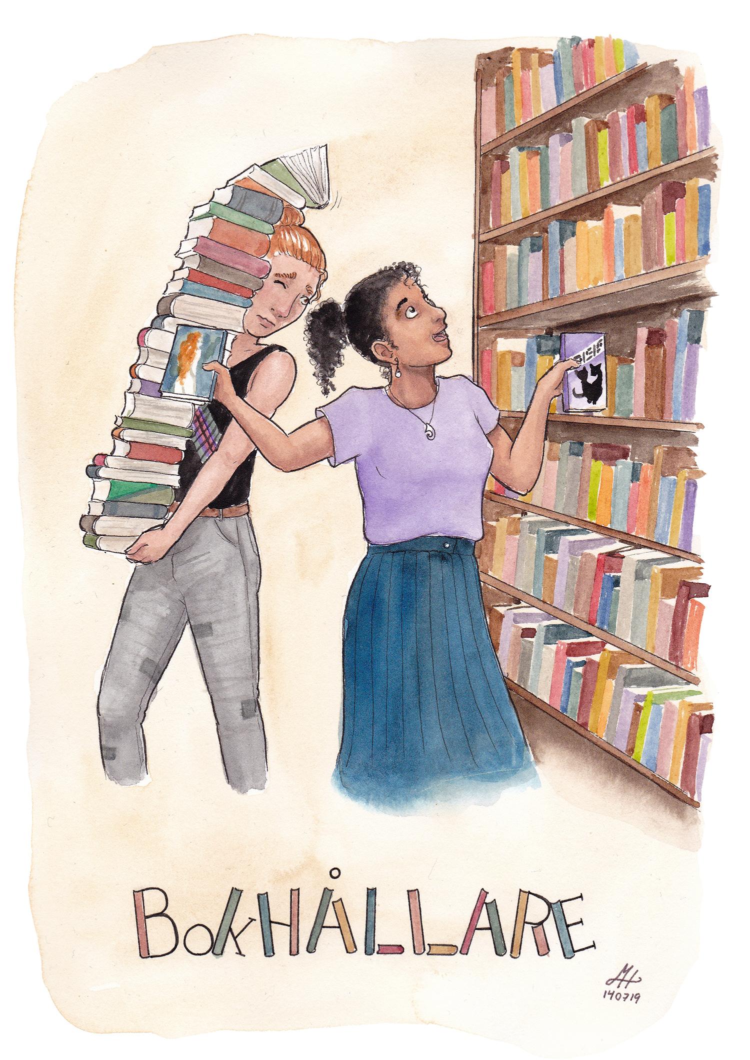 bokhållare illustration ordvits